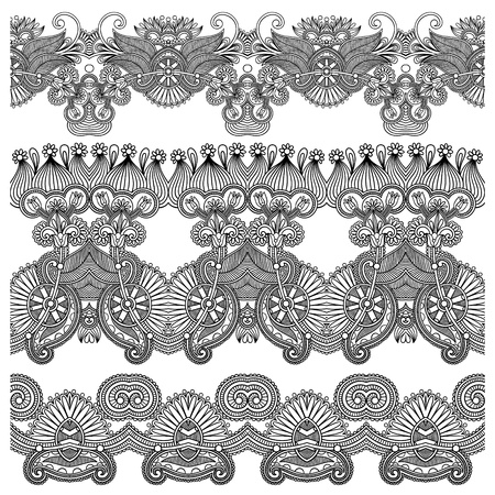 tissue texture: black and white collection of seamless ornamental floral stripes  Illustration