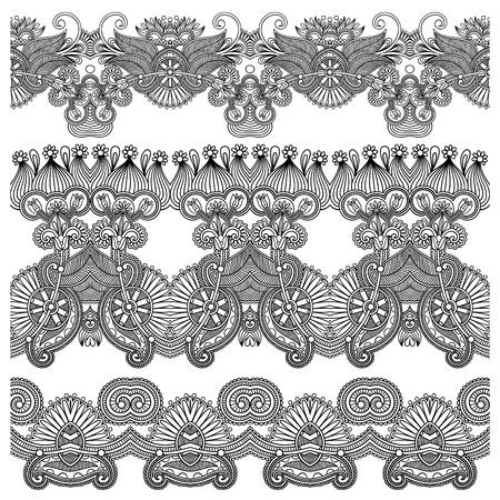friso: colección en blanco y negro sin fisuras de rayas florales ornamentales Vectores