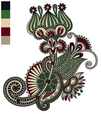 original hand draw line art ornate flower design. Ukrainian traditional style Stock Vector - 15110458
