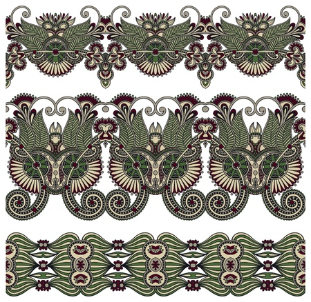 tissue texture: collection of seamless ornamental floral stripes