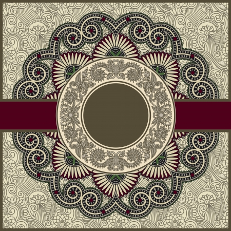 floral abstract: circle floral ornamental vintage template