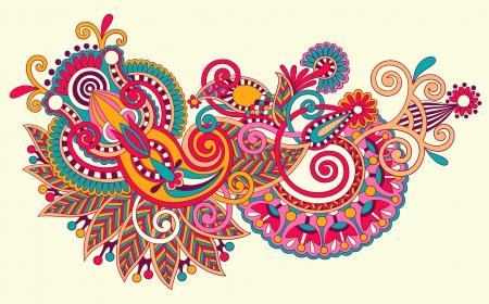 henna design: sorteo original l�nea mano arte dise�o flor ornamental. Estilo tradicional ucraniano