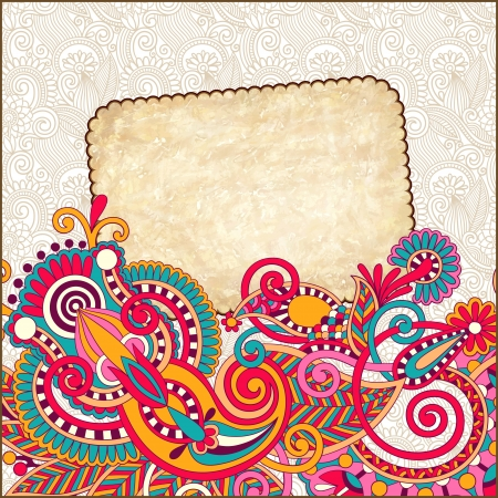 grunge vintage template with ornamental floral pattern