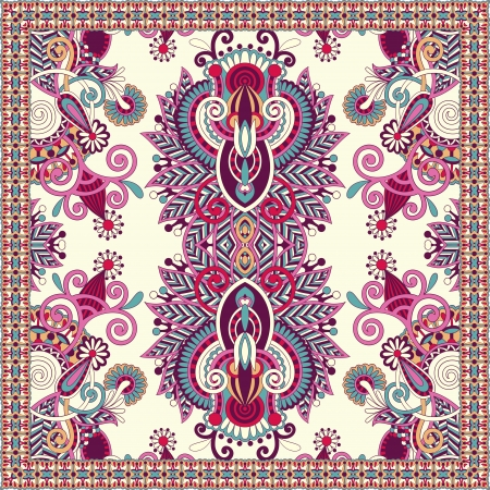 Traditional ornamental floral paisley bandanna. You can use this pattern in the design of carpet, shawl, pillow, cushion Ilustracja