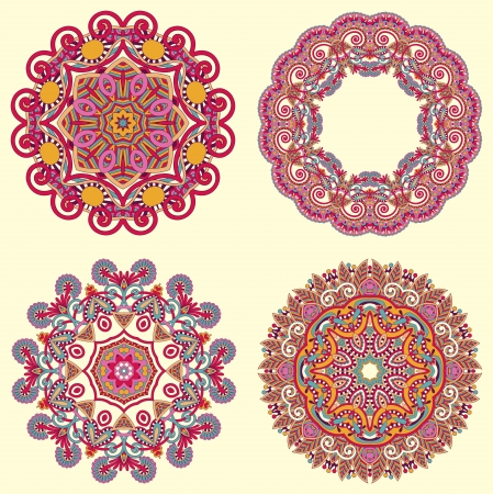 Circle ornament, ornamental round lace collection Vector