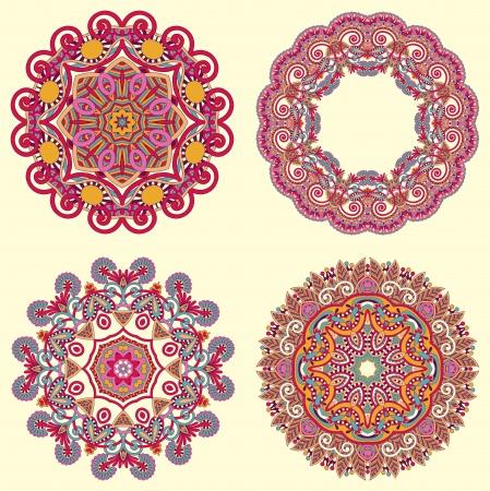 mandala tattoo: Circle ornament, ornamental round lace collection Illustration