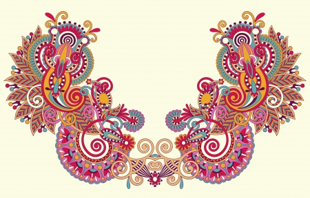 kashmir: Neckline embroidery fashion Illustration