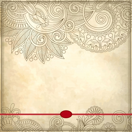 grunge background: Ornamental floral pattern with place for your text, in grunge background