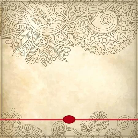 calligraphy frame: Patr�n ornamental floral con lugar para el texto, en el fondo del grunge