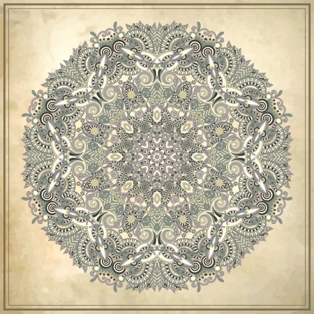 Circle ornament, ornamental round lace on grunge background  Vector