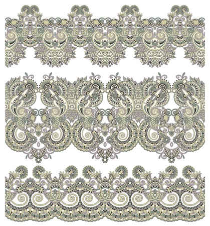 collection of seamless ornamental floral stripes Stock Vector - 15482112
