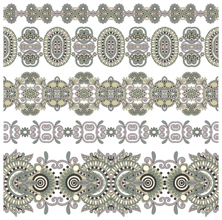 collection of seamless ornamental floral stripes Stock Vector - 15482102