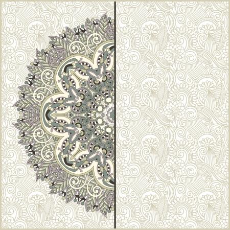 Victorian postcards: cerchio modello ornamentale con sfondo floreale Vettoriali