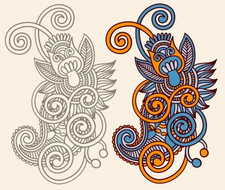 original hand draw line art ornate flower design. Ukrainian traditional style Illustration