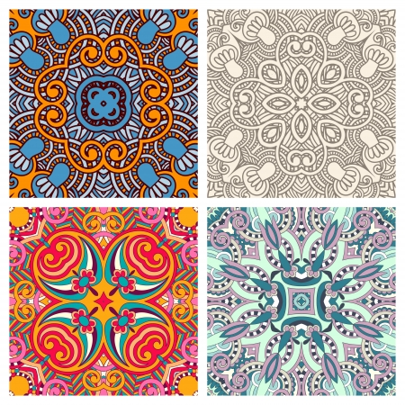 four ornamental floral seamless texture collection, lace pattern, kaleidoscope ornament Stock Vector - 15542199