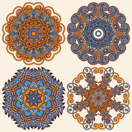 Circle ornament, ornamental round lace collection Illustration