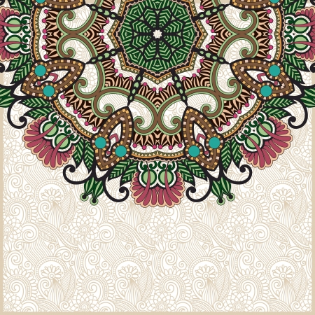 ornamental scroll: ornate floral card with ornamental circle template Illustration