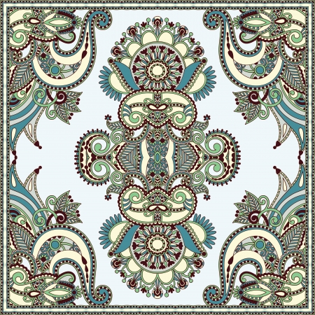 silk scarf: Traditional ornamental floral paisley bandanna. You can use this pattern in the design of carpet, shawl, pillow, cushion  Illustration