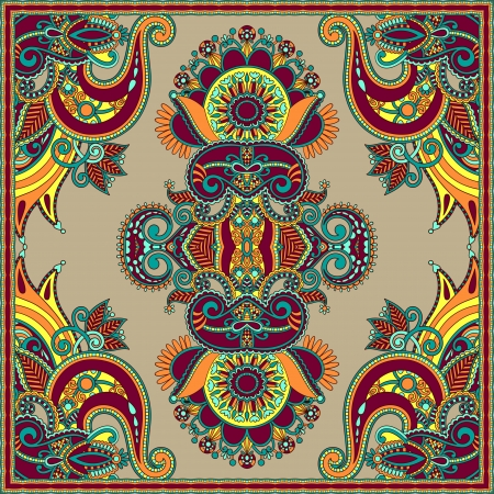 ethnic pattern: Traditional ornamental floral paisley bandanna. You can use this pattern in the design of carpet, shawl, pillow, cushion Illustration