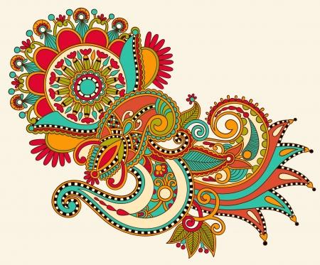 intricate: original hand draw line art ornate flower design. Ukrainian traditional style Illustration