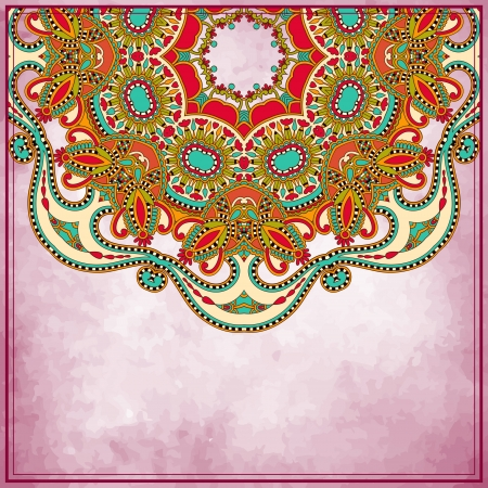 Flower circle design on grunge background with lace ornament. Template frame decoration for card design. Vector
