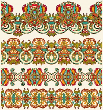 collection of seamless ornamental floral stripes Stock Vector - 15552427
