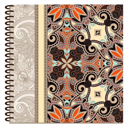 diary cover: design of spiral ornamental notebook cover Illustration