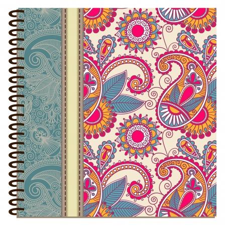diseño de la cubierta de cuaderno de espiral ornamental Ilustración de vector