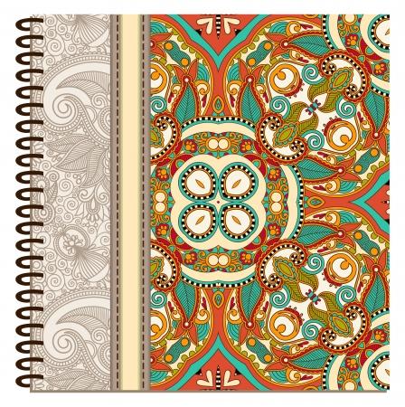 note booklet: design of spiral ornamental notebook cover Illustration