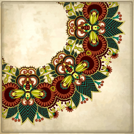 grunge floral: Ornamental floral circle pattern with place for your text, in grunge background  Illustration