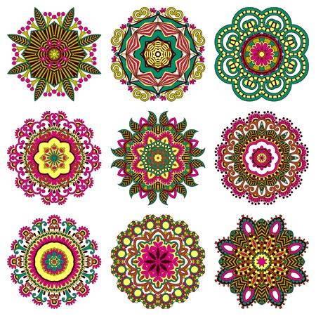 calligraphie arabe: Ensemble ornement cercle, d'ornement collection de dentelles rondes Illustration