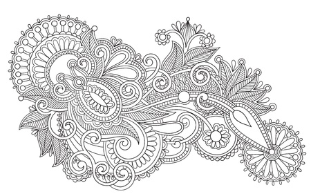 black and white original hand draw line art ornate flower design. Ukrainian traditional style Vector