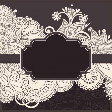 victorian: ornate vintage template with ornamental floral background, floral invitation card Illustration