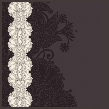 ornate vintage template with ornamental flower background, floral invitation card Vector