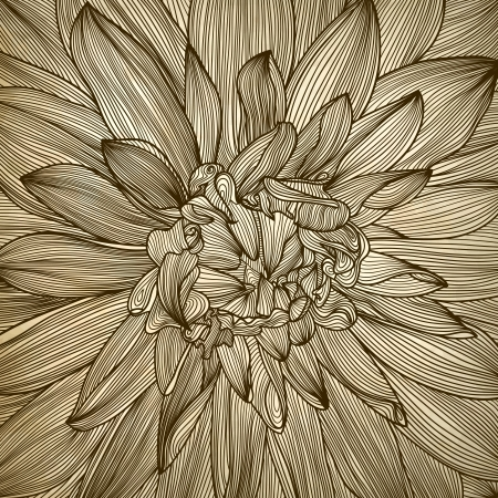 drawing of dahlia flower. Element for your design, engraving style  Vector