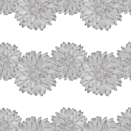 seamless pattern with drawing of dahlia flower. Element for your design, engraving style  Vector