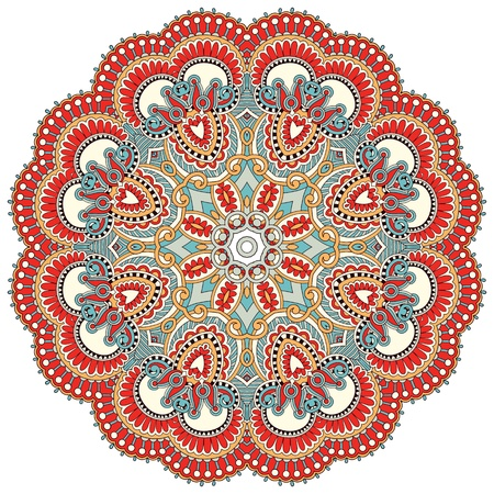 psychedelic background: Circle flower ornament, ornamental round lace design