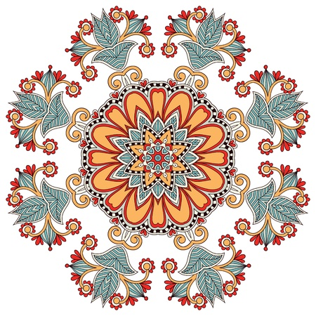 tapestry: Circle flower ornament, ornamental round lace design