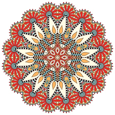 Circle flower ornament, ornamental round lace design Vector