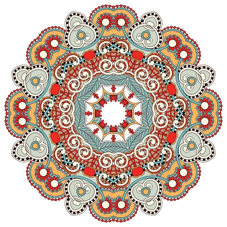 embroidery flower: Circle flower ornament, ornamental round lace design