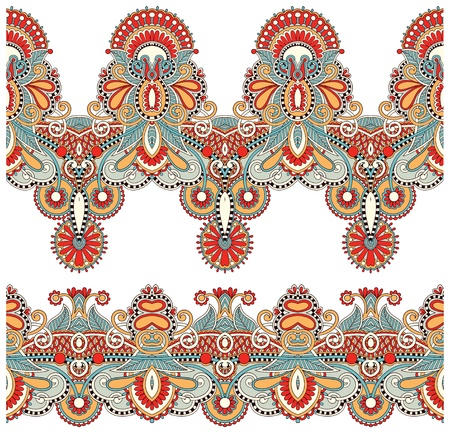embroidery fashion: collection of seamless ornamental floral stripes Illustration