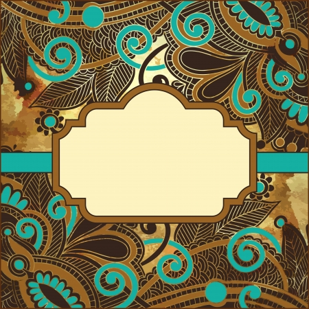 filigree frame: flower design on grunge background with frame for your text