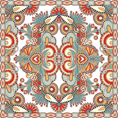Traditional ornamental floral paisley bandanna. You can use this pattern in the design of carpet, shawl, pillow, cushion Stock Vector - 15556169