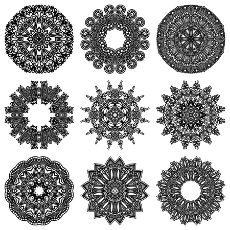 Circle ornament set, ornamental round lace collection Illustration