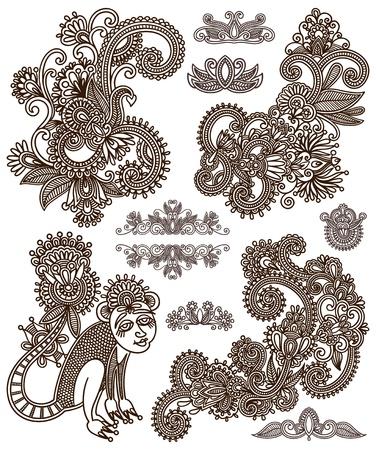 Set of black flower design Stock Vector - 15556101