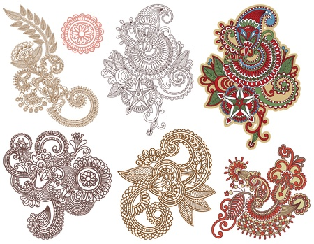 bandanna: collection of hand draw line art ornate flower design. Ukrainian traditional style Illustration
