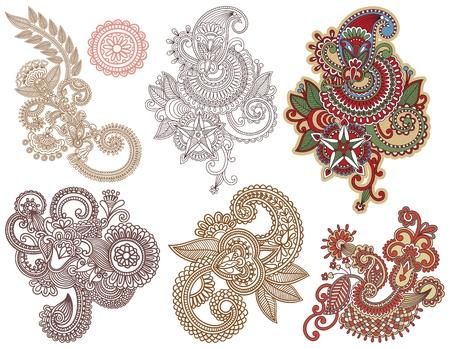 hindi: collezione di design disegnare a mano linea fiore art ornato. Ucraino stile tradizionale Vettoriali