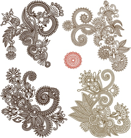 henna pattern: collection of hand draw line art ornate flower design. Ukrainian traditional style Illustration