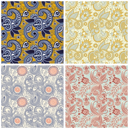 collection of vintage floral seamless pattern Vector