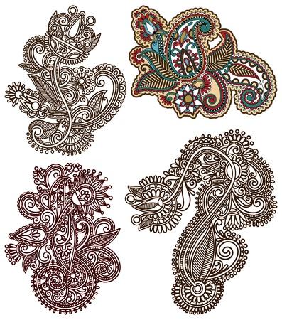 hindi: collection of original hand draw line art ornate flower design. Ukrainian traditional style
